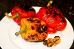 Roast the peppers until they are charred on each side
