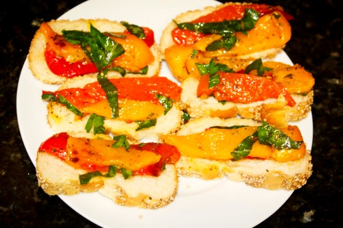 Roasted Peppers on Baguette