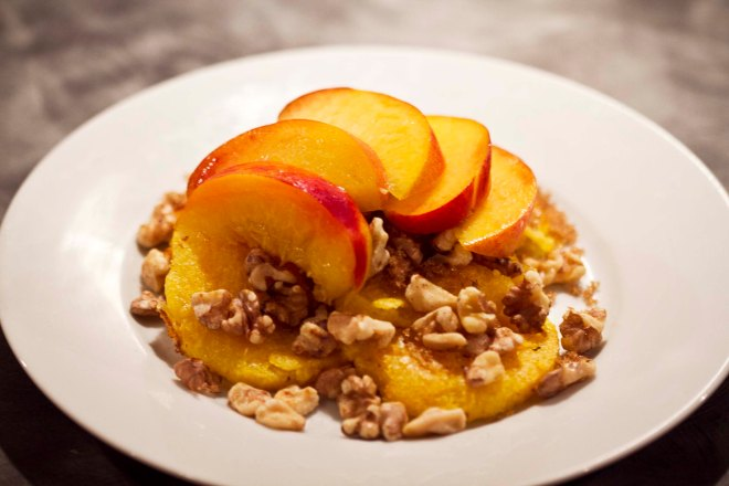 Crispy Polenta With Toasted Walnuts and Fresh Peaches