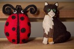 Cat and Ladybug Ornaments