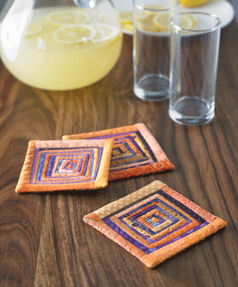 Scrappy Log Cabin Coasters